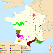 French wine production areas. Source: Wikipedia