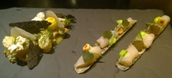 Two of the raw dishes (Razor Clams and Trout)